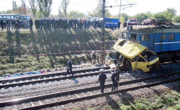 40 کشته در برخورد قطار با اتوبوس در اوکراین