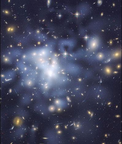 ماده تاریک موجود در یک خوشه کهکشانی