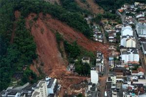 Die Stadt Nueva Friburgo nach starken Regenfällen am Donnerstag