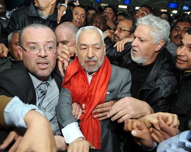 استقبال هزاران تونسی از راشد غنوشی