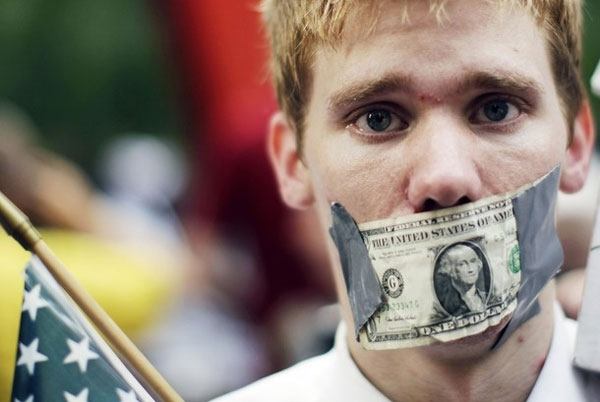 A demonstrator from the Occupy Wall Street campaign