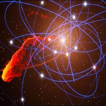 شبیه سازی توده گازی که درحال نزدیک شدن به به سیاه چاله فوق عظیم مرکز راه شیری است