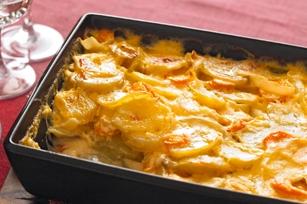 اسکالوپ هویج و سیبزمینی و پنیر