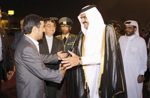 امیر قطر - احمدی نژاد