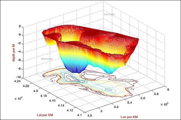 تصاویر تغییرات خط ساحلی دریاچه ارومیه طی ۴۵ سال