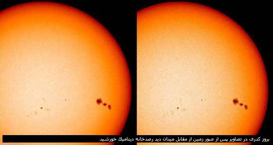 بروز کدری در تصاویر پس از عبور زمین از مقابل میدان دید رصدخانه دینامیک خورشید