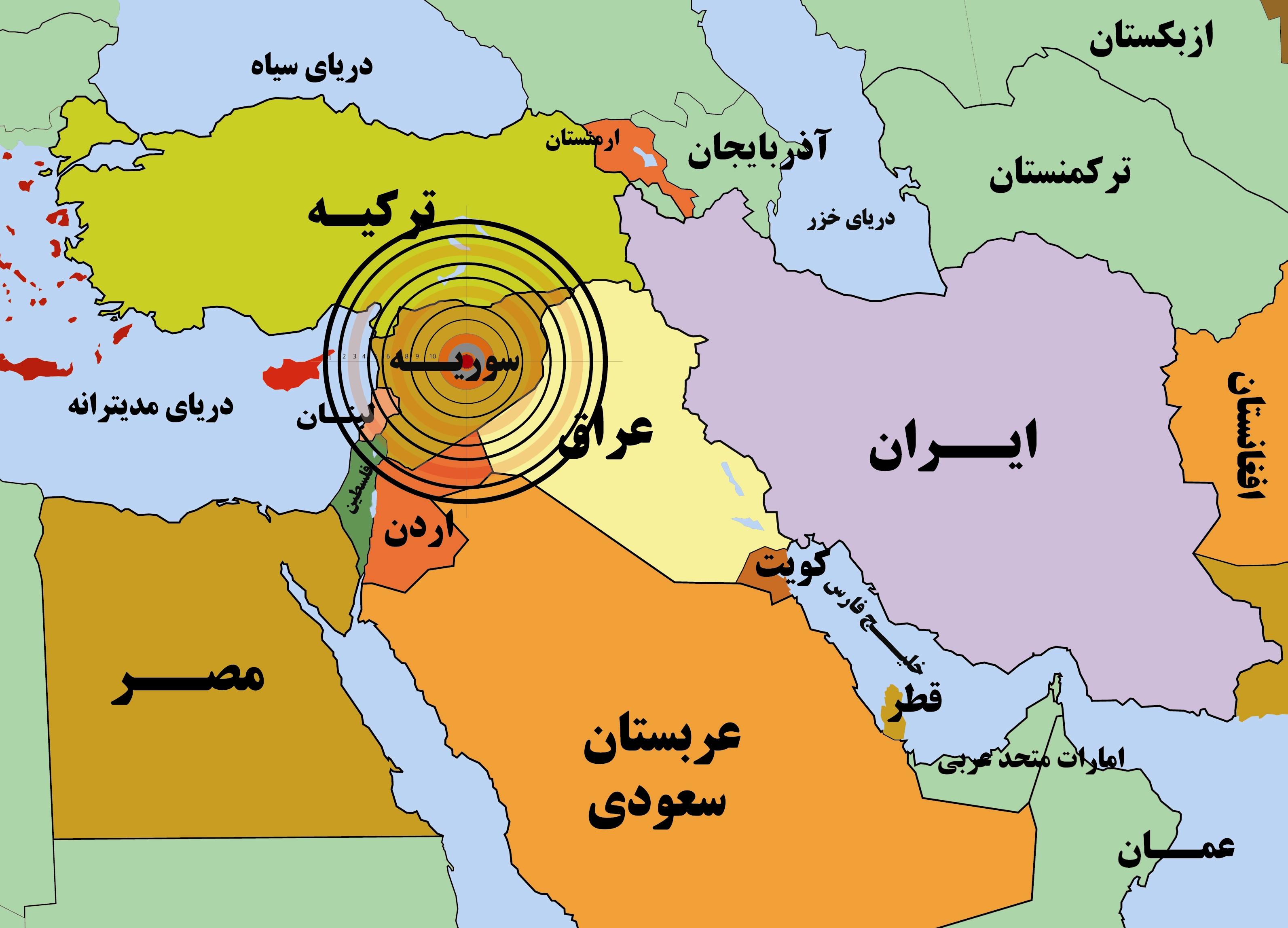 نقشه خاورمیانه -  سوریه