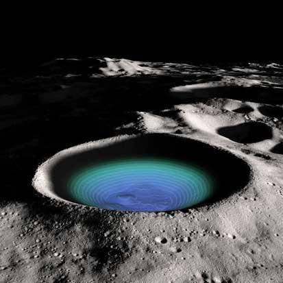 منبع عظیم یخ در قطب جنوب ماه