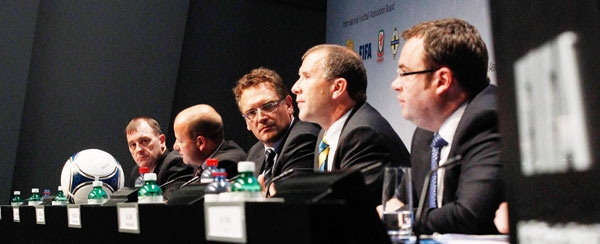 Members of the IFAB attend a news conference following an IFAB special meeting at the Home of FIFA in Zurich