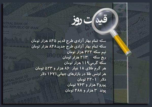 قیمت سکه چهارشنبه ۳ آبان ۹۱