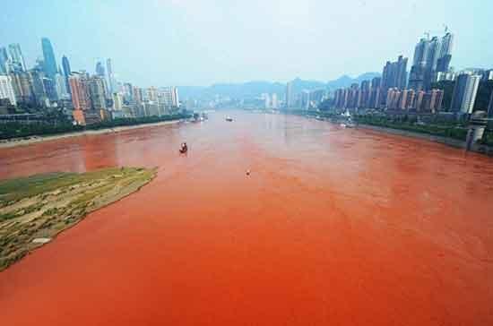 طولانیترین رودخانه آسیا قرمز شد