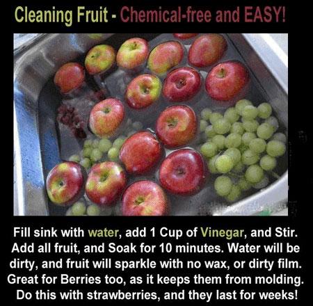 سرکه میوه و سبزیها را تمیز و ضدعفونی میکند