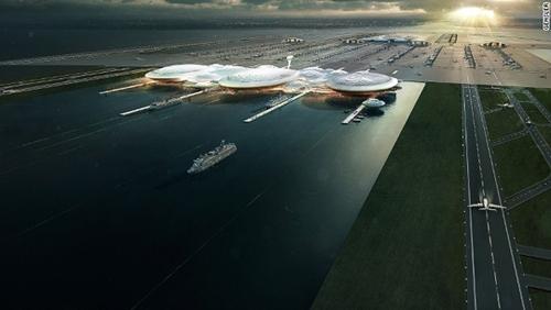 فرودگاهی در میان رودخانه؛ طرح بنای فرودگاهی برروی جزیره مصنوعی