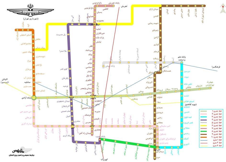 نقشه مسیرهای اتوبوس