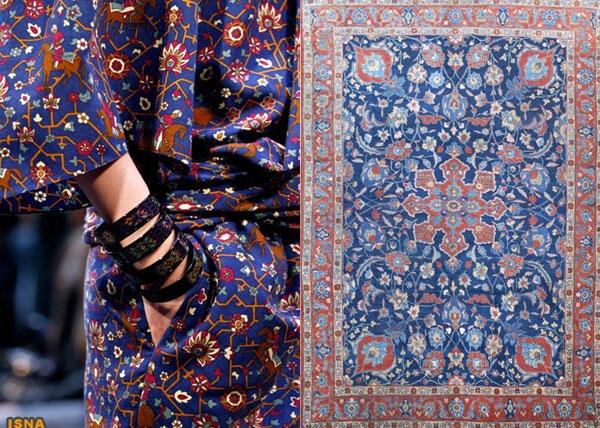 طرحهای فرش تبریز بر روی لباس زنان اروپایی