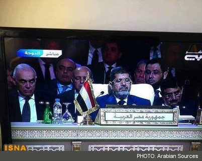 محمد مرسی و هیات همراهش در نشست دوحه