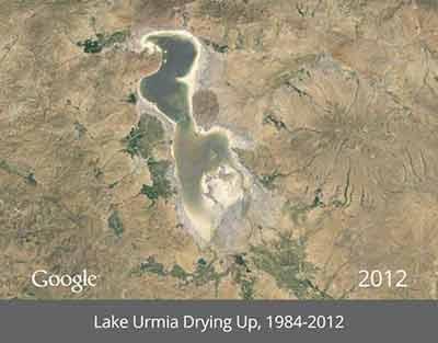 دریاچه ارومیه از 25 سال پیش تا امروز