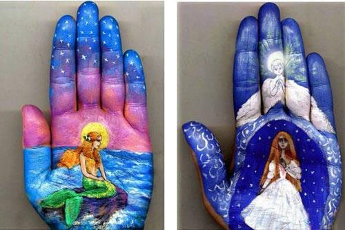 نقاشی روی کف دست