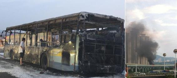 آتش سوزی اتوبوس در چین 47 کشته برجا گذاشت