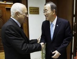 دیدار بان کی مون با دبیرکل اتحادیه عرب