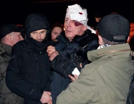 رهبر مخالفان دولت اوکراین مجروح شد