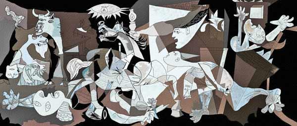 تابلوی گرنیکا اثر پاپلوپیکاسو . گرنیکا روستایی بود که در جریان جنگهای داخلی اسپانیا در ۱۹۳۷ توسط آل