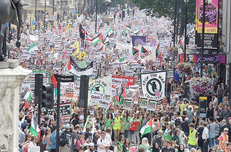 تظاهرات گسترده حامیان فلسطین در لندن