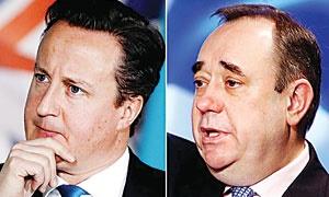 دیوید کامرون و الکس ساموند، نخستوزیران انگلیس و اسکاتلند