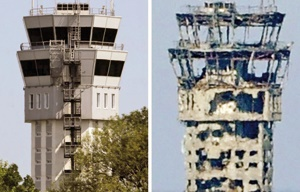 تصاویری که از قبل و بعد فرودگاه دونتسک منتشر شده  شدت  گرفتن مجدد درگیریها در شرق اوکراین را نشان م
