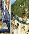 شکستن پل شیشهای در ارتفاعات
