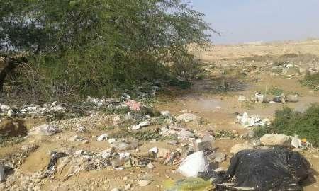 زمینهای کشاورزی گناوه انباشته از زباله