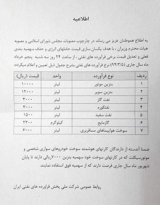 جدول قیمت سوخت