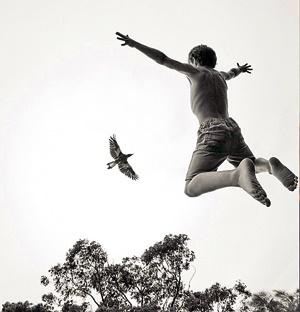 عکاسی از دوستی پرنده و پسر بچه