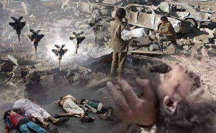 جنایات سعودیها در یمن: ویرانی۵۰۰ مسجد و ۳۰۰۰۰۰ خانه