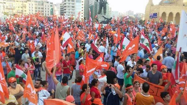 تظاهرات گسترده حامیان میشل عون در بیروت