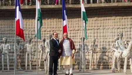 استقبال مودی از اولاند | آغاز گفتگو های تجاری هند و فرانسه