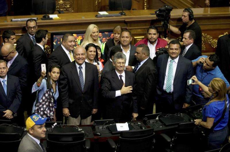 مراسم سوگند پرالتهاب قانونگذاران اپوزیسیون ونزوئلا