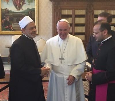 دیدار پاپ و شیخ الازهر در واتیکان با تعهد مشترک علیه تروریسم