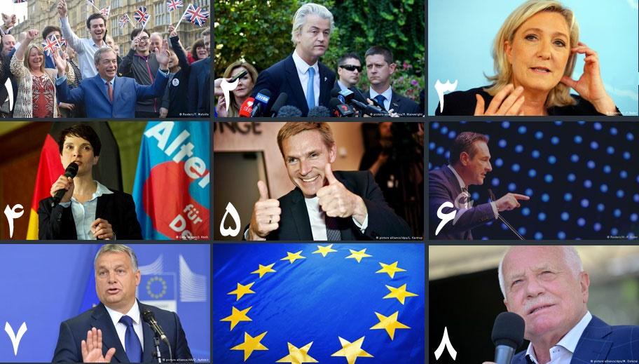 چهره به چهره با ۸ دست راستی اروپایی