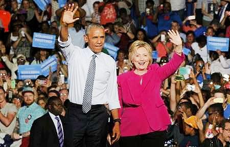 حمایت رسمی اوباما از کلینتون با اولین کمپین مشترک