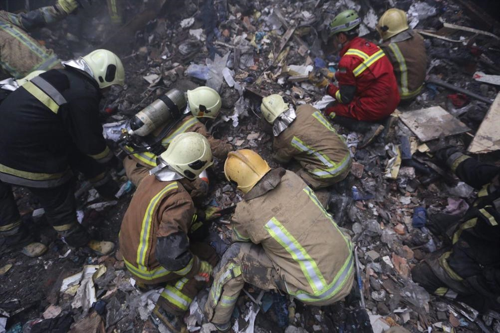 ساختمان پلاسکو پس از فروریختن در اثر آتش سوزی