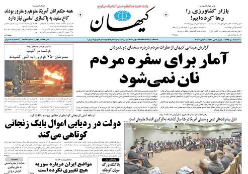 روزنامه کیهان، ۱۴ دی