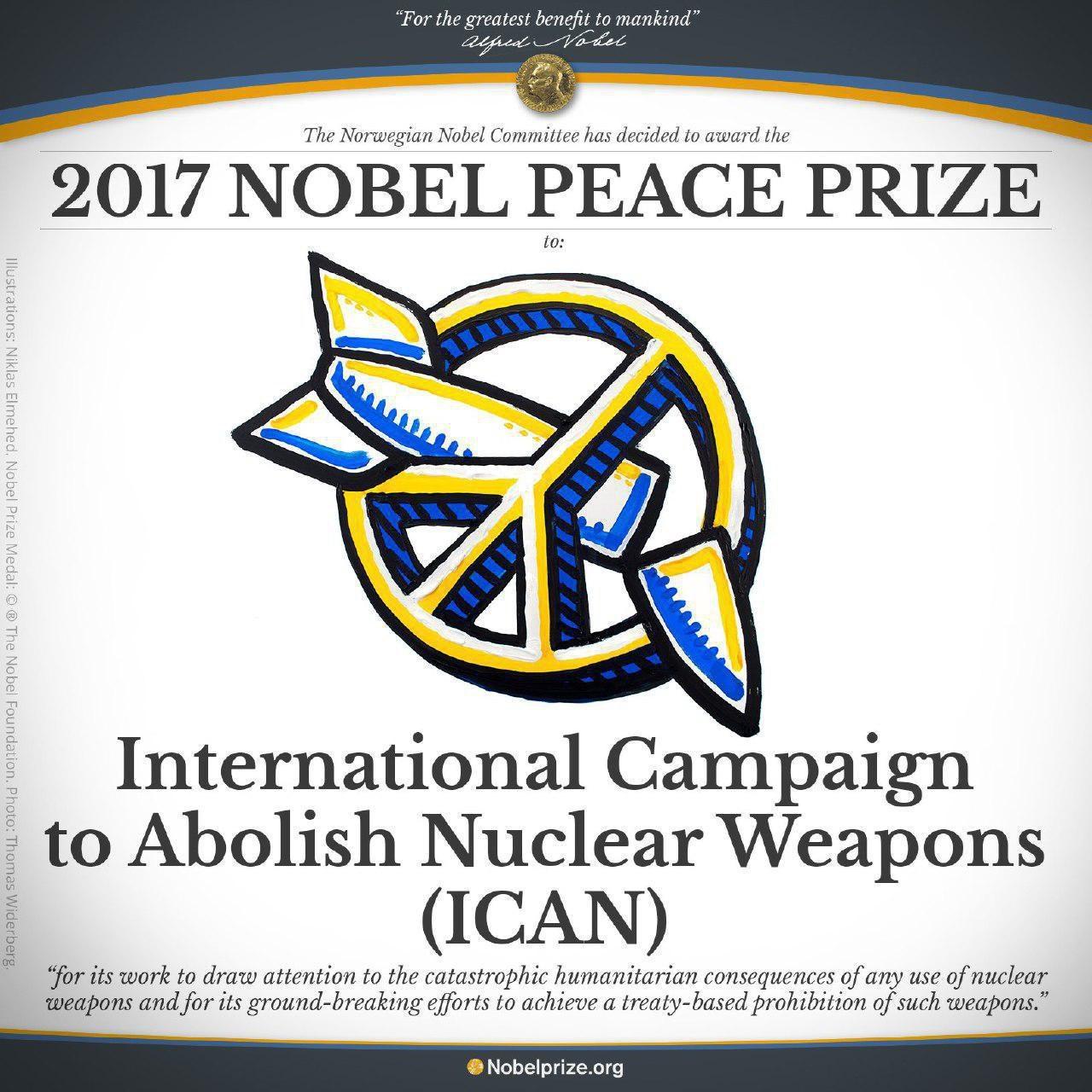 برنده جایزه نوبل صلح ۲۰۱۷ اعلام شد