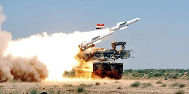 مقابله سامانه ضدهوایی ارتش سوریه با موشکهای رژیم صهیونیستی
