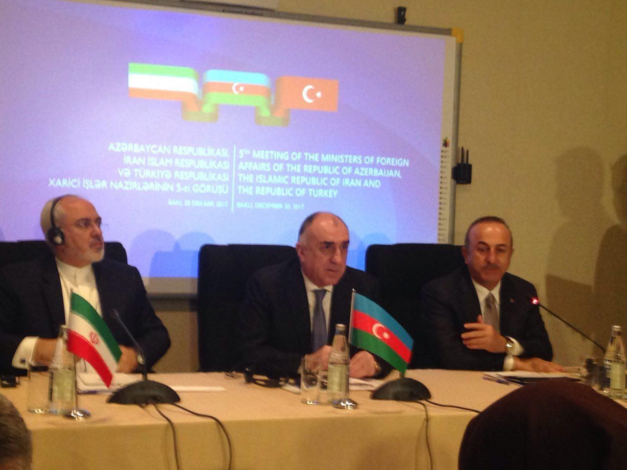 کنفرانس خبری مشترک وزیران خارجه سه کشور ایران، آذربایجان و ترکیه