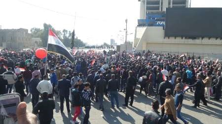 فروکش کردن تظاهرات و صداهای پراکنده گلوله ها در بغداد