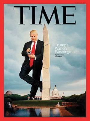 روی جلد شماره جدید مجله تایم با تیتر جنگ ترامپ با واشنگتن طعنهای است به پیامهای توییتری او.