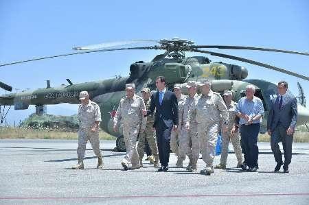 بشار اسد از پایگاه نظامی روسیه در استان لاذقیه بازدید کرد