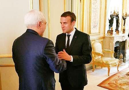 ظریف با رئیس جمهوری فرانسه دیدار کرد