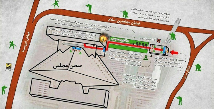 حوالی ساعت ۲۲  هفدهم خرداد نیز یک گرافیک خبری فاقد عنوان و منبع در کانالها و گروهها و... اشتراک گذاری شد که در عمل مسیر ورود و درگیری تروریستها در ساختمان مجلس را نشان می داد.